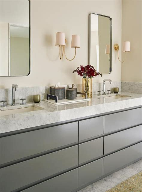 charcoal gray double vanity  thick marble countertops