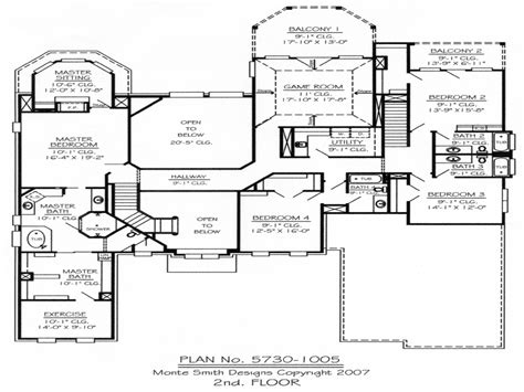 5 bedroom house plans 2 master bedroom two deck 5 bedroom 2 house