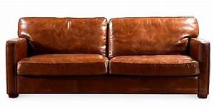 canape 3 places cuir marron vintu lestendancesfr With canapé cuir retourné marron