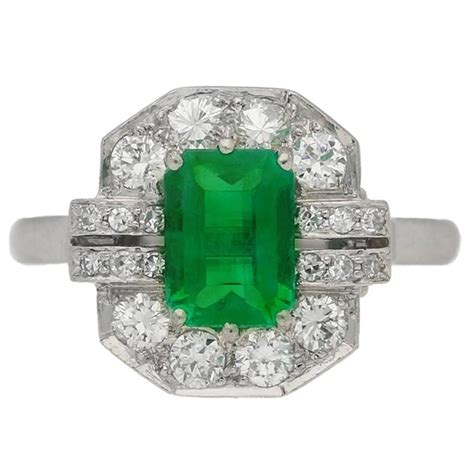 deco emerald platinum engagement ring for sale