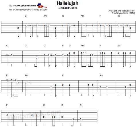 hallelujah easy guitar tablature songs