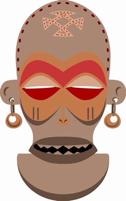 African Mask Angola Vector Clipart Chokwe Zaire