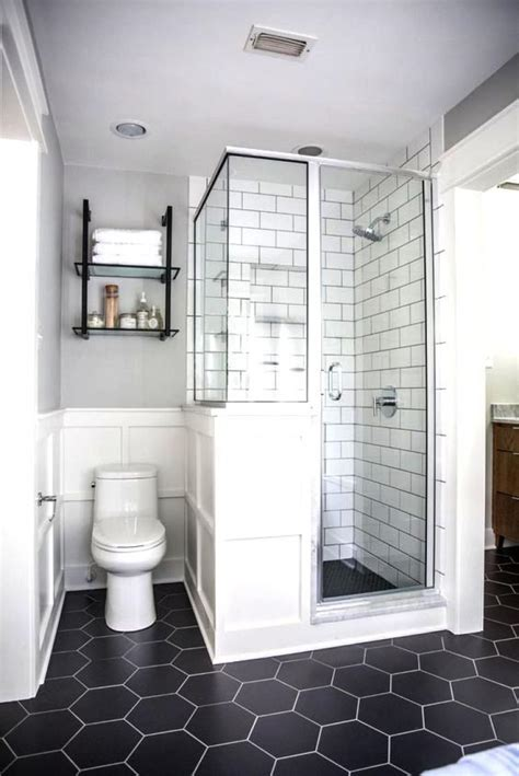 Small Black And White Bathroom by Small Bathroom Black And White Colors With Black Hexagonal