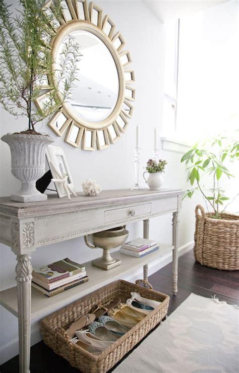 small white entry table devon mirror cottage entrance foyer the elegant abode