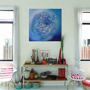 Tableau Contemporain Grand Format : grand tableau marin banc de poissons fond bleu mer 130x130 cm ~ Teatrodelosmanantiales.com Idées de Décoration