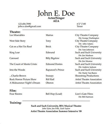 acting resume templates  samples examples