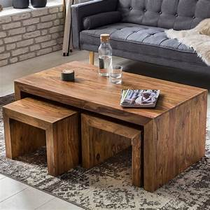 Tisch Aus Holz : massiver couchtisch sheesham 110 x 60 cm wohnzimmertisch massiv holz tisch set ebay ~ Watch28wear.com Haus und Dekorationen