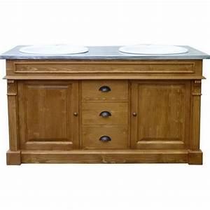 Meuble Salle De Bain Metal : meuble double vasque dessus zinc bois massif ~ Teatrodelosmanantiales.com Idées de Décoration