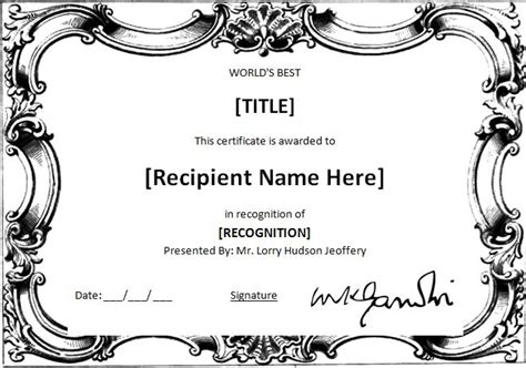 ms word worlds  award certificate template word
