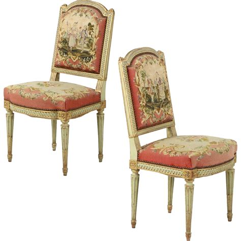 pair of antique side chairs in original green paint