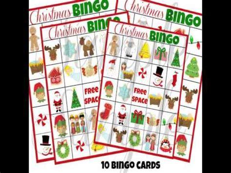 printable christmas bingo cards youtube
