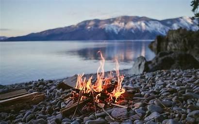 Fire Nature Campfire Lake Desktop Water Depth