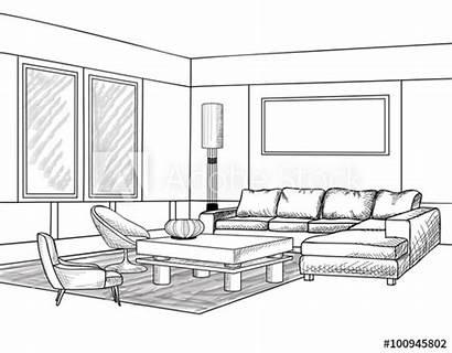 Sketch Living Interior Outline Furniture Blueprint Comp