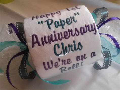 happy st paper anniversary embroidered toilet
