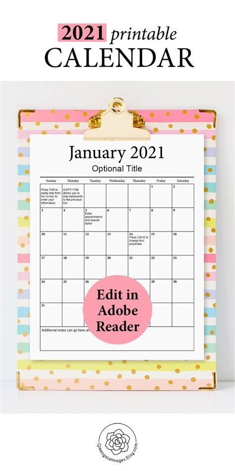 printable calendar fillable planner editable