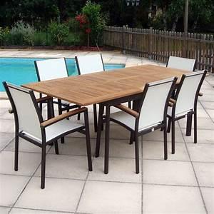 Table En Teck Jardin : salon de jardin teck alu rouille 6 places masaya achat ~ Melissatoandfro.com Idées de Décoration