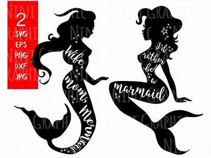Mermaid Mom Rather Svg Clipart Wife Silhouette
