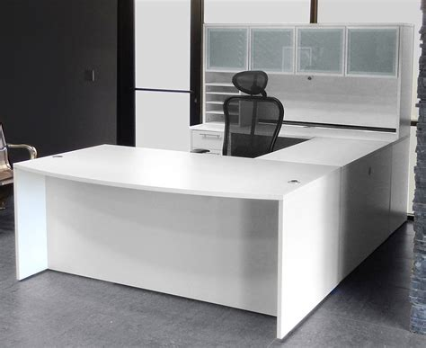 executive desk white white u shaped workstation w hutch