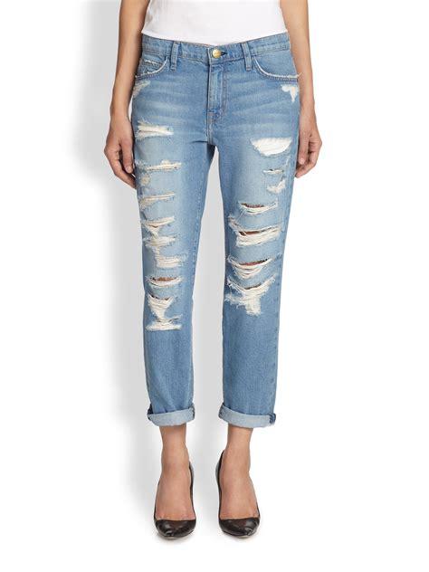 Current/elliott The Fling Tattered Skinny Jeans in Blue | Lyst