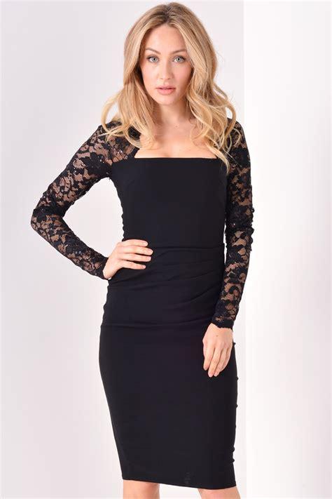 sabrina midi dress goddiva sabrina lace sleeve midi dress in black iclothing