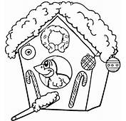 Christmas Birdhouse Coloring Page  Super