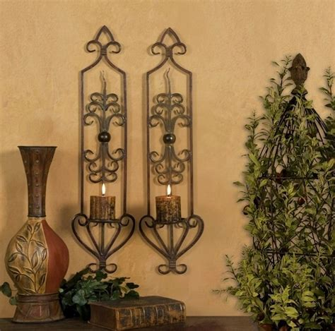 st 2 french tuscan scroll mediterranean wall sconce candle