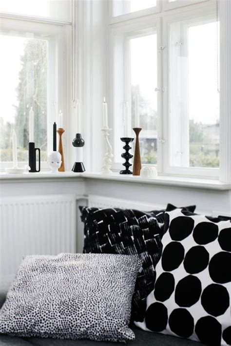 Window Sill Pillow by Black And White Pillows And Candleholders Interiors