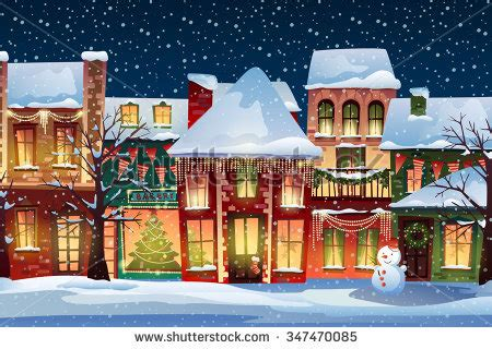 winter landscape christmas background fairy tale houses