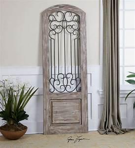Wooden door wall decor : Tall spanish architectural door wood iron art wall floor