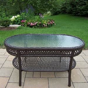 shop oakland living elite resin wicker glass oval patio With resin wicker patio coffee table