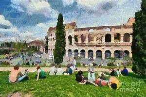 Outside Colosseum In Rome Painting by George Atsametakis