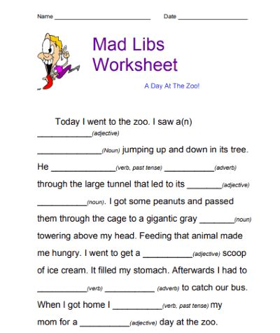 5 printable mad libs for kids online