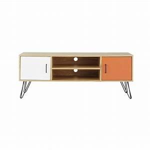 Meuble Tv Vintage : meuble tv vintage en bois blanc et orange l 130 cm twist maisons du monde ~ Teatrodelosmanantiales.com Idées de Décoration