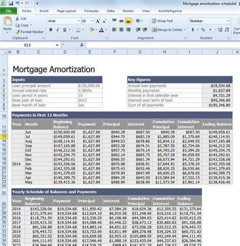 excel amortization templates calculate mortgage loan amortization with an excel template