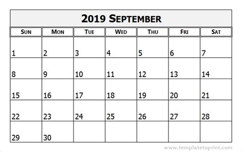 september calendar word calendar weekly printable
