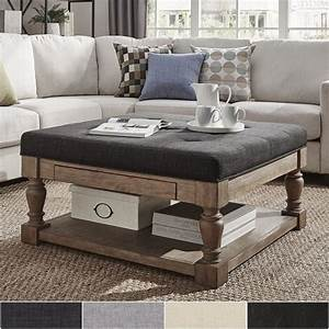 large ottoman coffee table extra upholstered rectangular With coastal ottoman coffee table