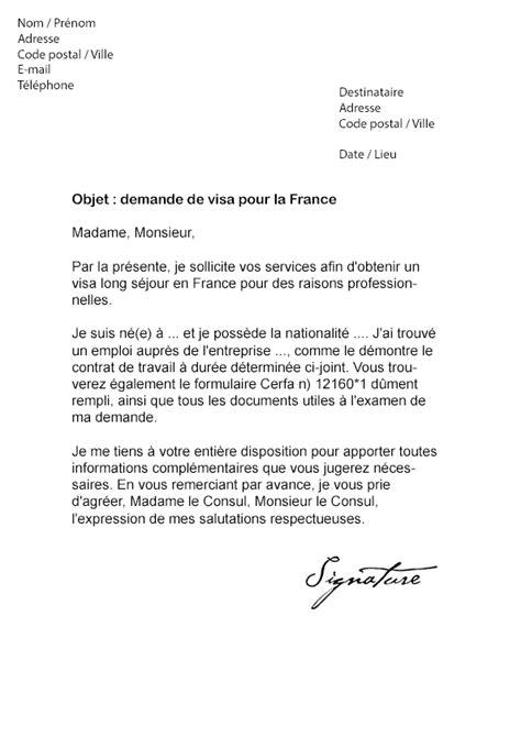 Lettre de demande de Visa pour la France - Modèle de Lettre