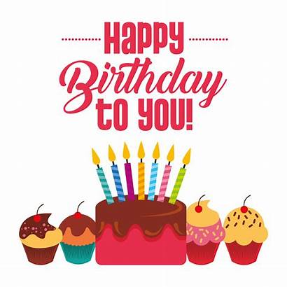 Birthday Happy Card Cake Vector Candles Cupcakes