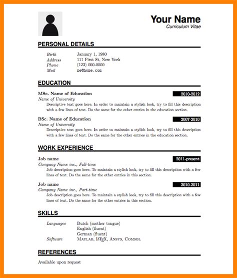 Chronological Resume Fresh Graduate by 5 Cv Template For Fresh Graduate Theorynpractice