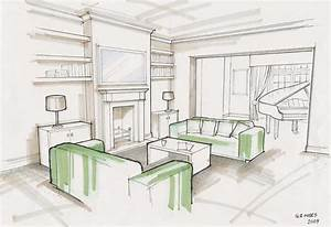 Interior Design Studium : living rendering grayscale pinterest sketches perspective and interior sketch ~ Orissabook.com Haus und Dekorationen