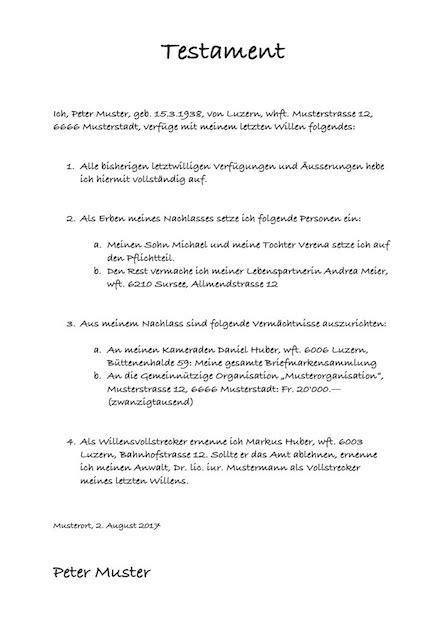 testament muster vorlage im word format muster vorlagech