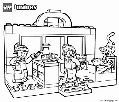 Shopping Coloring Pages Lego Printable Juniors Farm