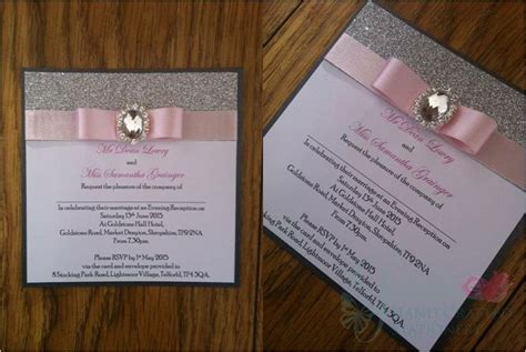 Pale Pink With Glitter Post Card Wedding Invitation Di On