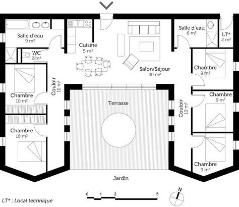 plan de maison 4 chambres plain pied gratuit plan maison plain pied en u gratuit ventana