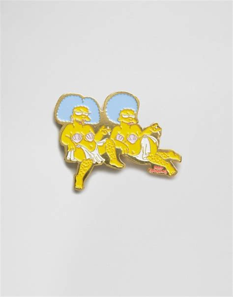 skinnydip x the simpsons patty selma pin badge asos