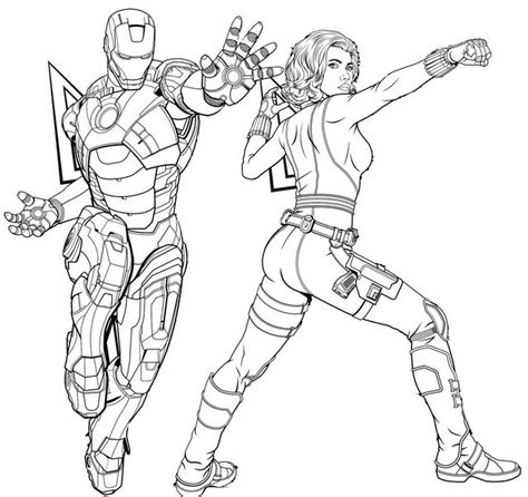 iron man and black widow coloring page of avengers endgame