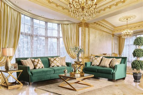 Sm2271 Emerald Green Living Room Set Gold Finish Legs