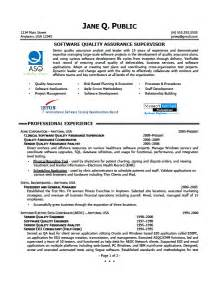 resume templates quality assurance manager professional resume exle resume quality assurance manager