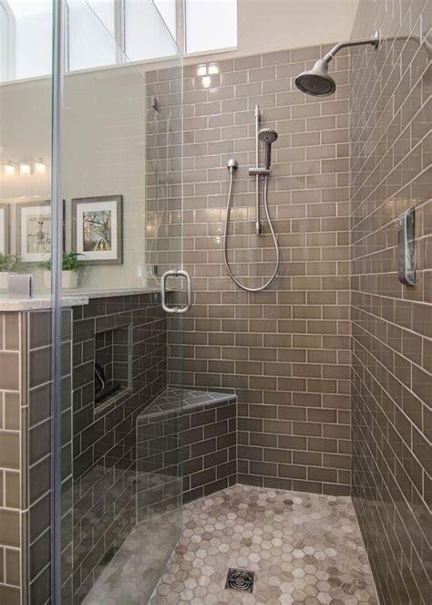 hgtv walk  shower  gray subway tilebathroom