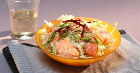 recette salade de saumon mi cuit aux petits oignons
